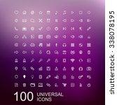 set of 100 universal outline... | Shutterstock . vector #338078195
