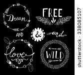 set of boho style frames and... | Shutterstock .eps vector #338085107