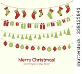 christmas greeting card with... | Shutterstock . vector #338125841