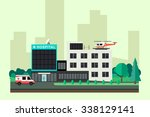 hospital with ambulance car and ... | Shutterstock .eps vector #338129141