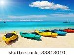 Kayaks On The Tropical Beach ...