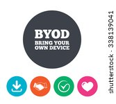 byod sign icon. bring your own... | Shutterstock .eps vector #338139041