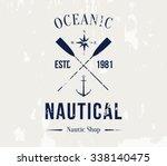 vector grungy nautic logo... | Shutterstock .eps vector #338140475