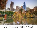 central park in autumn with... | Shutterstock . vector #338147561