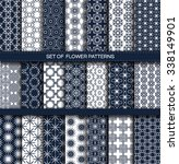 set of white and blue patterns. ... | Shutterstock .eps vector #338149901
