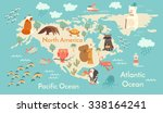 Постер, плакат: Animals world map North