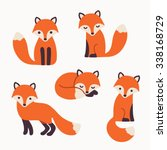 set of cute cartoon foxes in... | Shutterstock .eps vector #338168729
