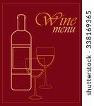 wine menu bottle and glasses... | Shutterstock .eps vector #338169365