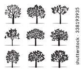 set of black apple trees....   Shutterstock .eps vector #338193935