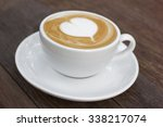 hot cappuccino or latte coffee... | Shutterstock . vector #338217074