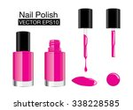 pink nail polish in glass... | Shutterstock .eps vector #338228585