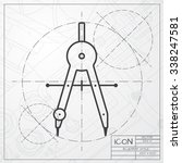 vector blueprint of compasses... | Shutterstock .eps vector #338247581