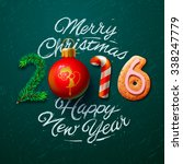 merry christmas and happy new... | Shutterstock .eps vector #338247779