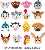 cartoon animal head collection... | Shutterstock .eps vector #338252519