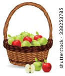 fresh green and red apples in a ... | Shutterstock .eps vector #338253785