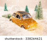miniature yellow car with... | Shutterstock . vector #338264621