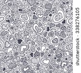Valentines day card, ornate background. Seamless hand-drawn pattern with  black-and-white hearts, flowers and abstraction. Valentines day background.