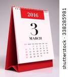 simple desk calendar for march... | Shutterstock . vector #338285981