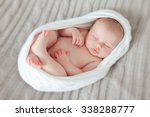 Stock photo sleeping newborn baby in a wrap 338288777