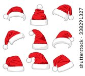 set of red santa claus hats... | Shutterstock .eps vector #338291327