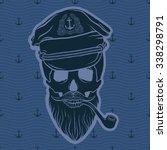 captain skull on anchors...   Shutterstock .eps vector #338298791