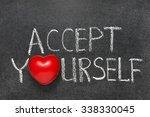 Small photo of accept yourself phrase handwritten on blackboard with heart symbol instead O