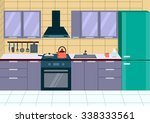 modern kitchen interior with... | Shutterstock .eps vector #338333561