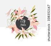 floral lily retro vintage... | Shutterstock .eps vector #338352167