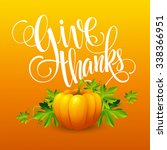 pumpkin and leaves.... | Shutterstock . vector #338366951