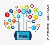 social media design with... | Shutterstock .eps vector #338375225