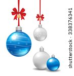 christmas balls with red ribbon ... | Shutterstock .eps vector #338376341