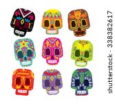 Mexico Flowers  Skull Elements. ...