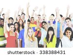 diverse group people arms... | Shutterstock . vector #338388431