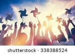 silhouette wind wheel... | Shutterstock . vector #338388524