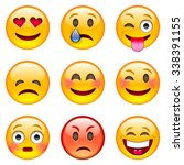 set of emoticons. set of emoji. ... | Shutterstock .eps vector #338391155
