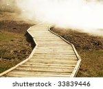 Trail in Yellowstone - stock photo