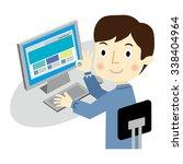man operates the desktop pc  | Shutterstock .eps vector #338404964