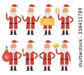 santa claus in various poses... | Shutterstock .eps vector #338411789