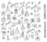christmas background with hand... | Shutterstock .eps vector #338412785