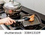 Chef Fried Pork Steak In A Pan
