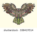 Stock vector zentangle stylized eagle owl colorful hand drawn doodle ethnic patterned vector illustration 338419514