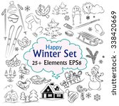 beautiful winter vector sketch... | Shutterstock .eps vector #338420669