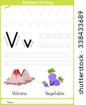 alphabet a z tracing worksheet  ... | Shutterstock .eps vector #338433689
