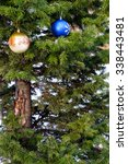 christmas balls on a real... | Shutterstock . vector #338443481