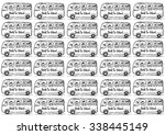 pattern school bus with happy... | Shutterstock .eps vector #338445149