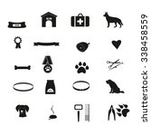 set of black pets icons. dog... | Shutterstock .eps vector #338458559