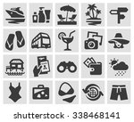 vacation set black icons. signs