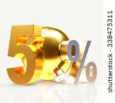 golden 50 percent discount with ... | Shutterstock . vector #338475311