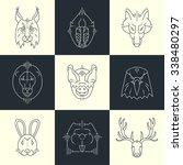 set of animals linear flat... | Shutterstock . vector #338480297