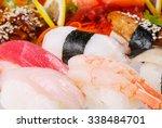 sushi  set of sushi  various... | Shutterstock . vector #338484701